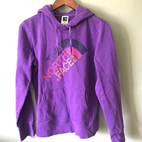 The North Face Tops - The North Face Diagonal Logo Graphic Purple Hoodie